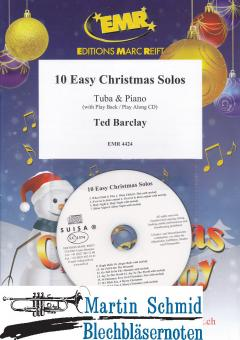 10 Easy Christmas Solos (Piano + Play-Along-CD)(Tuba in C)
